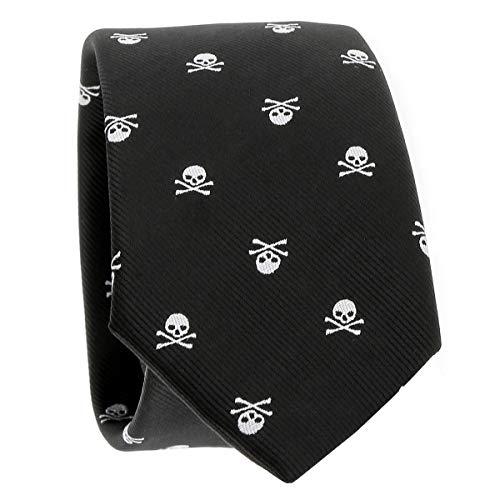 Corbata y Pajarita Calavera Negra y Blanca - Corbata y Pajarita Hombre Cráneo Original - Corbata y Pajarita Esqueleto Skull (Corbata Negra y Blanca)