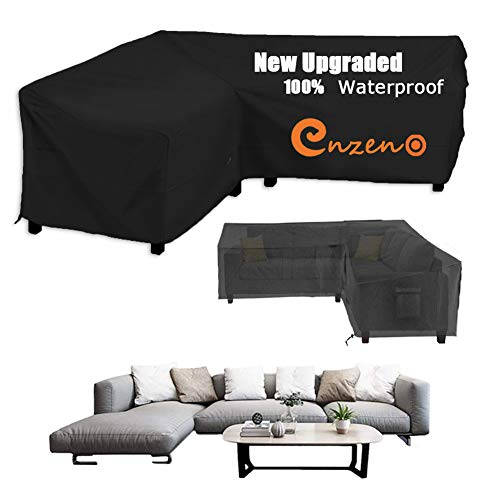 Enzeno Garden V-Shape Furniture Cover Waterproof, 600D Heavy Duty Oxford Fabric Outdoor Rattan Corner Sofa Cover with Waterproof Tape (270 * 270 * 90cm)
