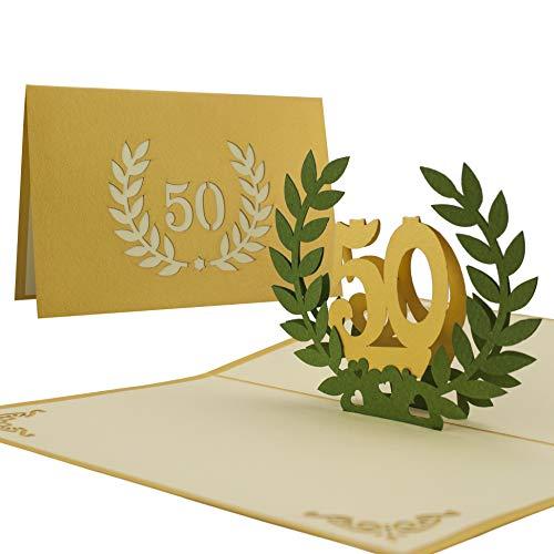 Glückwunschkarte I Karte goldene Hochzeit, Einladung 50 Jahre Hochzeit I Edel Elegant Hochwertig I Pop-Up-Karte,L11