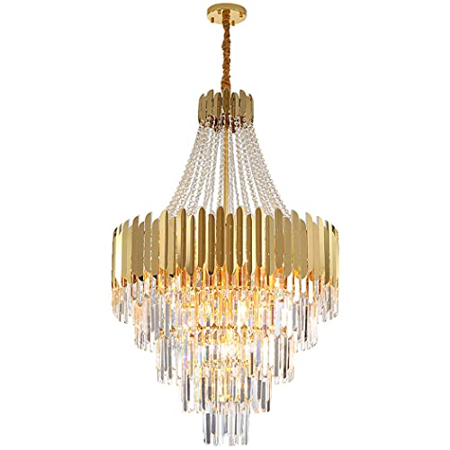 huasa Large Foyer Crystal Chandelier Modern Luxury,Elegant Gold Pendant Lamp for Dining Room Hallway Stairway Bar Restaurant,for Bedroom,Hallway,Bar,Kitchen,Bathroom,D 60CM