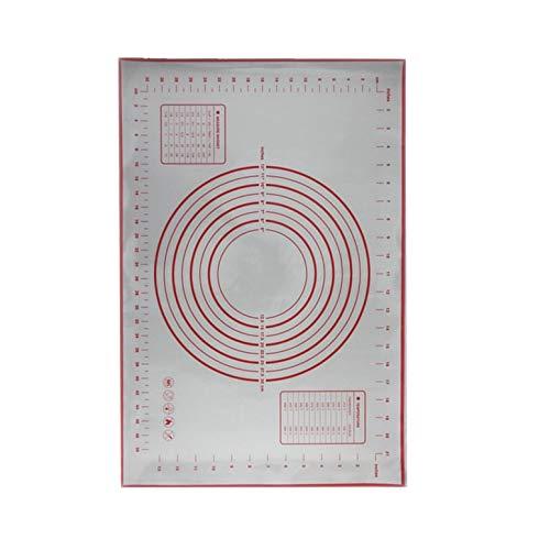 Alfombrilla para Hornear de Silicona Antiadherente Almohadilla para Hornear Lámina para Hornear Fibra de Vidrio Alfombrilla para enrollar Galleta Macaron Alfombrilla para Hornear - Rojo 60 * 40