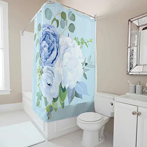 BTJC88 Cortina de ducha con diseño de flores, estilo moderno, resistente a la oxidación, juego de cortinas de baño con anillas, para apartamento Decorative White 120 x 180 cm