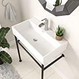 Console Sink with Black Legs,Logmey 30 Inch Ceramic Basin Glossy White Rectangle...