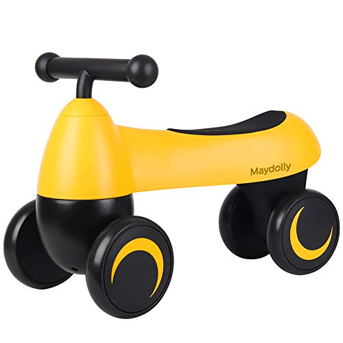 Maydolly Toddler Ride On Toy Balance Bike Baby Walker Smooth for Age 1-3 Years Old Girls Boys Kids Yellow
