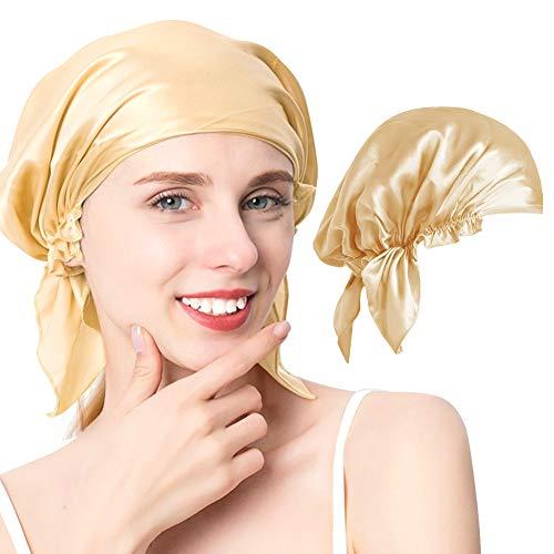 XCOZU Schlafhaube Seide, Atmungsaktive und Bequemer Schlafhaube Schlafmütze aus Seide, Damen Schlafhaube Nachtmütze Kopfbedeckung Haare Schützen(Champagner)