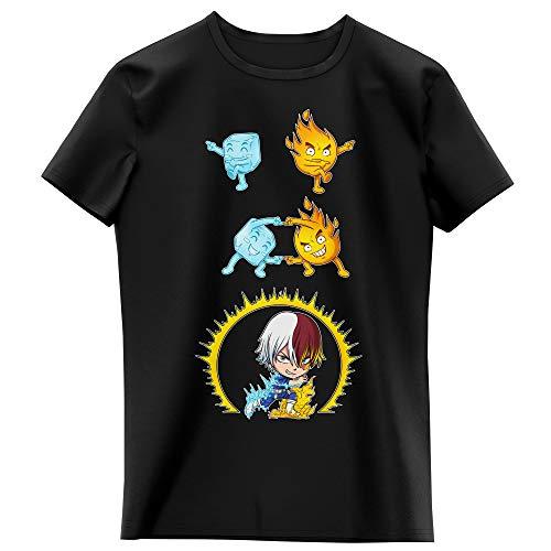 Okiwoki T-Shirt Enfant Fille Noir Parodie My Hero Academia - Shoto Todoroki - Une Parodie givrée (T-Shirt Enfant de qualité Premium de Taille 13-14 Ans - imprimé en France)