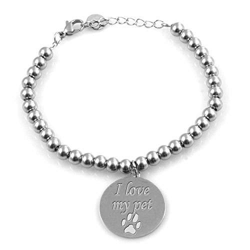 Pulsera de Mujer con un Colgante Grabado Frases en mi Perro o un Gato en Acero de hasta 21 cm...