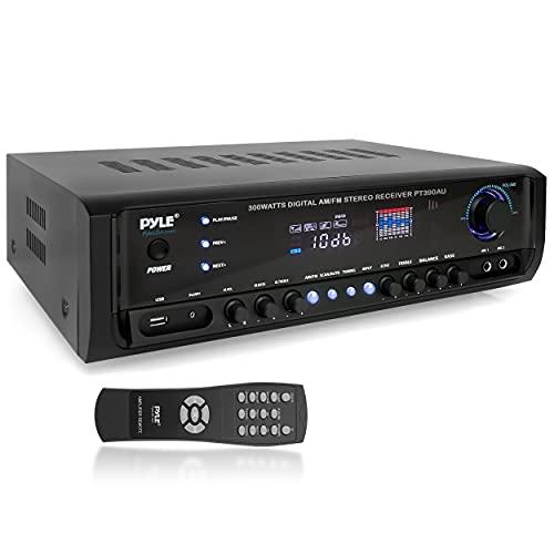 Pyle PT390AU.5 - Sistema de amplificador de potencia de audio para el hogar, 300 W, 4 canales, receptor de sonido estéreo, caja de...