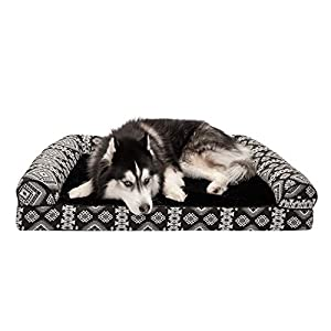 Furhaven Pet Dog Bed – Memory Foam Plush Kilim Southwest Home Decor Traditional Sofa-Style Living Room Couch Pet Bed with Removable Cover for Dogs and Cats, Black Medallion, Jumbo