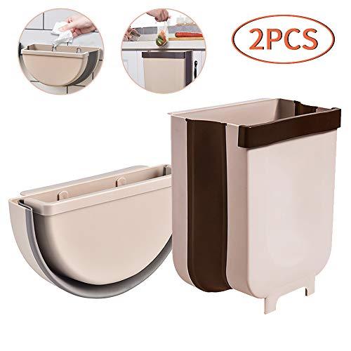 TCJJ 2 Piezas Cubos de Basura Plegable Colgante para Cocina Coche Oficina Baño,9L y 5L
