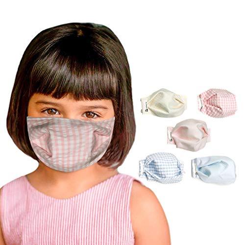 tapidecor Pack 5 MASCARILLAS Infantiles FACIALES DE Tela Lavable Reutilizable 2 Capas + Bolsillo para Filtro. DISEÑO Basic CHILDRE Doble Ajuste Elastico