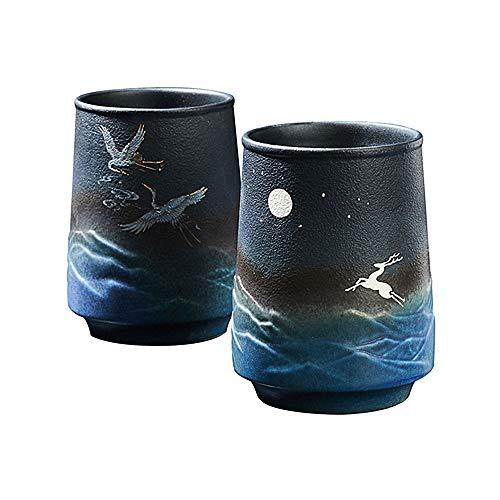 Juego de 2 tazas de té hechas a mano de cerámica china y japonesa, 10 onzas