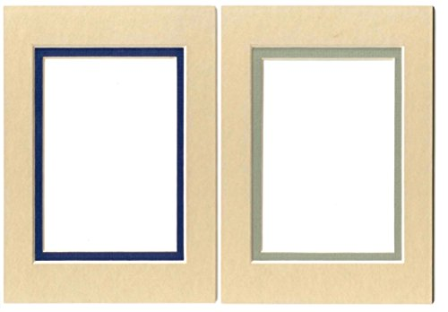 5 x 7 Acid Free Double Beveled Photo Mat- 8 Count (Tan Assorted)