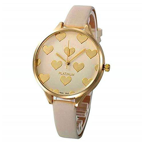 WSSVAN Reloj analógico de Cuarzo para Mujer Cuero sintético Geneva Acero Inoxidable Dial Dorado corazón (Beige)