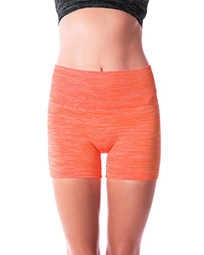 Homma Women's Seamless Compression Heathered Yoga Shorts Running Shorts Slim Fit  (Large, H.N.Orange)