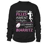 TEEZILY Sweatshirt Certaines Filles Aiment Le Rugby Les Vraies supportent Biarritz - Noir - M