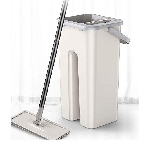 Mikrofaser-Schleudermopp Home-Flachmopp- und Eimersets Schmutzwasser von sauberem Wasser trennen Selbstwasch- und Trockenflachmopp for alle Bodenreinigungssysteme for die Küche Hauswirtschaftsraumwäsc