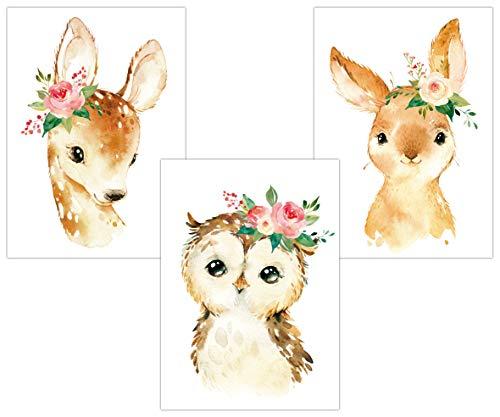 Lalelu-Prints 3er Set Bilder Kinderzimmer Poster Deko Mädchen Reh Eule Hase Blumen DIN A4 I Kinderbilder I Wandgestaltung Wanddekoration Wandbilder