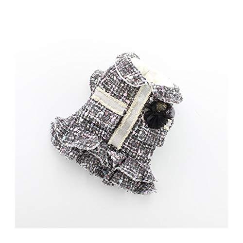 Lo Nuevo Invierno Colores Gris Blanco XS-XL Tamaños Vestidos De Abrigo For Perros Y Puppy Otoño Invierno Linda Decoración De Encaje Agraciado Mascotas Faldas (Color : Gray, Size : L.)
