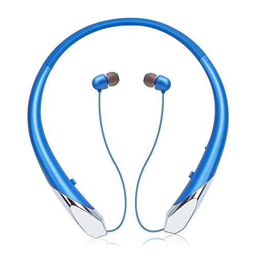 Bluetooth Headphones, Wireless Neckband Headset Retractable Earbuds HD Stereo Noise Cancelling Earphones with Mic (Call Vibrate Alert,15 Hrs Playtime, Blue 1)