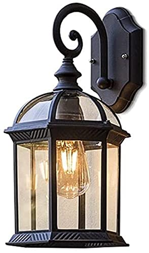 DZCGTP Linterna de Vidrio Minimalista Europea Aplique de Pared Decoración Vintage para Exteriores Lámpara de Pared Impermeable Soporte de Aluminio de Metal Base E27 con