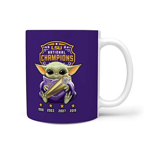 yjduop Yoda Kiss Wow LSU Cup Unique Camping Travel Mug with Handle One Size for Men and Women White 11oz