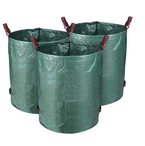 MVPower Bolsas de Basura de Jardín, Set de 3pcs x 300L, Gran Capacidad, de PE Material, Plegable, Resistente a la Corrosión y al Daño, para Hojas Plantas Podadas etc.
