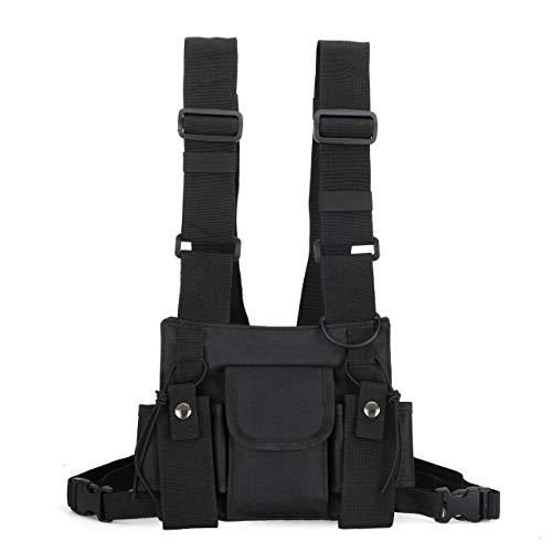 MWOBEP Sac de Poitrine Fonctionnel pour Les Hommes de la Mode Bullet Hip Hop Vest Streetwear Sac de Taille Pack Femmes Noir Sac de Poitrine Rig, Petit (Noir)
