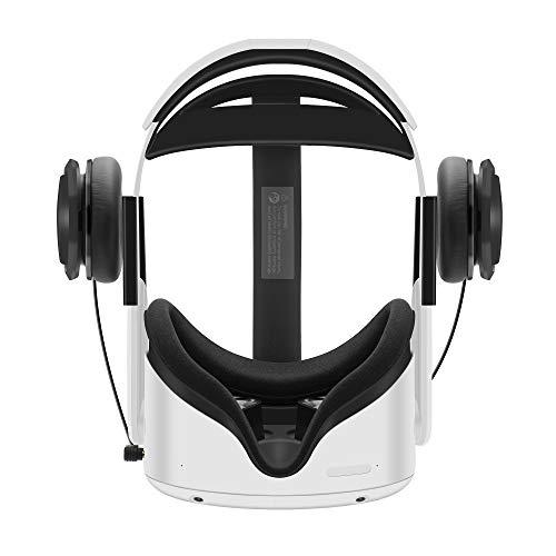 Auriculares estéreo VR Globular Cluster hechos a medida para Oculus Quest 2, con correa para la cabeza elite y correa para la cabeza original, con graves profundos en 3D y sonido de 360 grados (negro) (Electrónica)