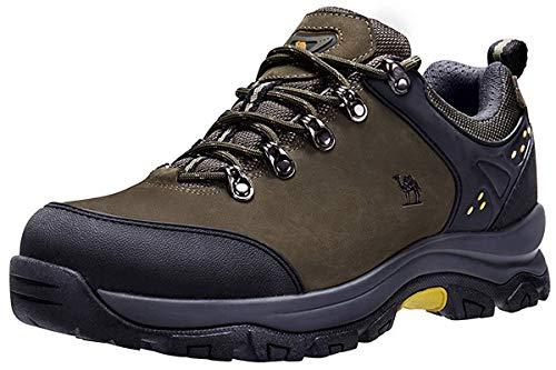 CAMEL CROWN Herren/Damen Leder Wanderschuhe wasserdicht Rutschfeste Outdoor Trail Trekking Schuhe,Grün,40.5 EU