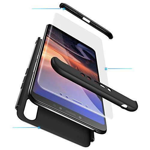 Funda XiaoMi Mi Max 3 Carcasa XiaoMi Mi Max 3 con[Protector de Pantalla de Vidrio Templado]3 en 1 Desmontable Anti-Arañazos XiaoMi Mi Max 3 Funda Protectora-360 °complete package protection-Negro