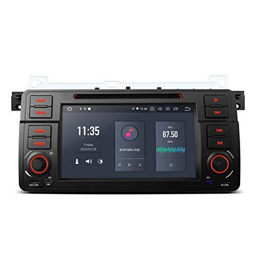 KAUTO 7'Android 10 Car Stereo Bluetooth 5.0 Auto Radio PX6 Hexa-Core 4GB RAM 64GB ROM Navegación GPS Reproductor de DVD Soporte Salida HDMI WiFi DVR Dab + 4K Video MirrorLink para BMW E46 Series