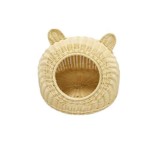 POPETPOP Cama de ratán para Mascotas, Cama de Verano, Nido Cueva para Perros pequeños y Gatos (Beige Talla S)