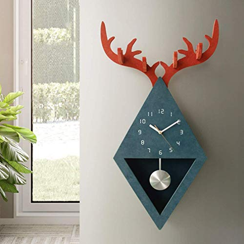 MingXinJia Relojes de Cabecera para el Hogar Reloj de Pared, Moda Animal Tema Relojes de Madera Sala de Estar Dormitorio Columpio Reloj de Pared Silencioso Reloj de Decoración de Arte de Pared