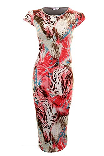 FANTASIA BOUTIQUE ® Dames Multi Colour Luipaard Tijgerprint Midi Lange Bodycon Damesjurk 8-14