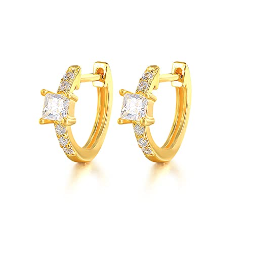 XQAQW Pendientes de Mujer genuinos 925 Plata esterlina para Aniversario o Compromiso Regalo Negro circonio cúbico -Gold_Color