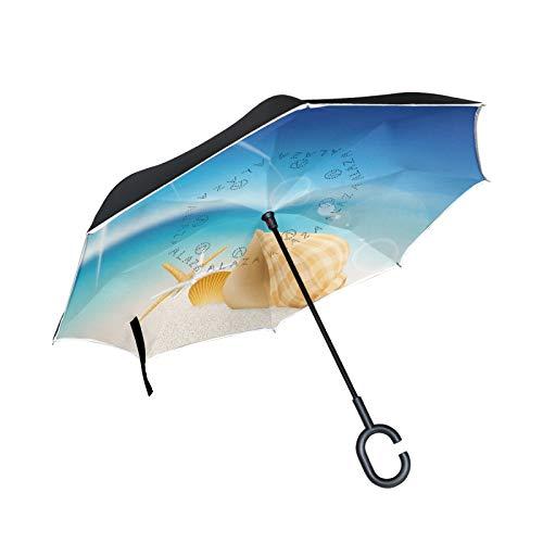 Blauer Himmel Strandmuschel Reversion Regenschirm Große Schirm Winddicht Umgedrehter Regenschirm mit C-förmigem Griff Umbrella