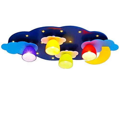 5W LED plafondlamp slaapkamer woonkamer lichten kinderkamer massief hout plafond lampen creatieve cartoon lichten babykamer verlichting decoratie lichten (kleur: blauw)