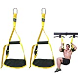 Ab Straps for Abs Workout Equipment, Hanging Ab Straps with Handles, Adjustable Length, for Abdominal Training, Hanging, Leg Raise, Ab Straps for Pullup Bar(Yellow)