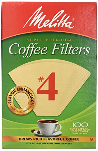 Melitta Cone Coffee Filters, Natural Brown #4, 100 Count (Pack Of 6)