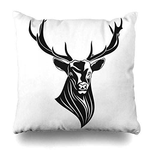 GOOESING Image of A Red Deer Silhouette Black Tribal Tattoo Pillow Case/Pillow Cover 50% Cotton & 50% Polyester Size 18x18 Inches