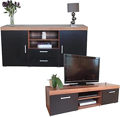 Walnuss Großes Sideboard &TV-Schrank 140cm Einheit Wohnzimmermöbel Set