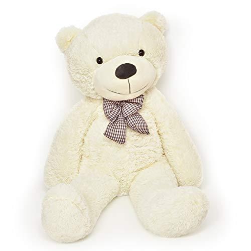 Lumaland Riesen XXL Teddybär 120 cm mit Knopfaugen und Schleife Plüsch Kuschelbär samtig weich Schmusetier Kuscheltier Groß Valentinstag - Beige