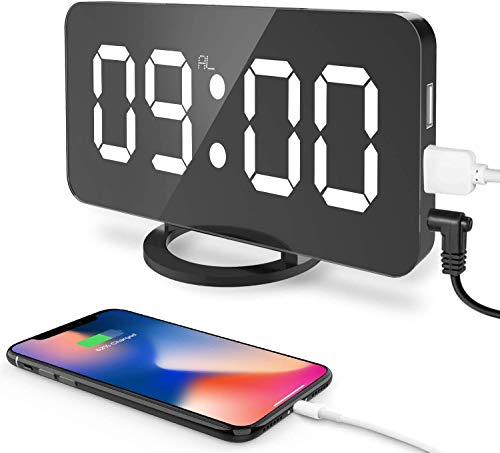 """Digital Alarm Clock, 6.5"""" Large LED Display with Dual USB Charger Ports, Auto Dimmer Mode, Easy Snooze Function, Modern Mirror Desk Wall Clock for Bedroom Home Office - Black"""