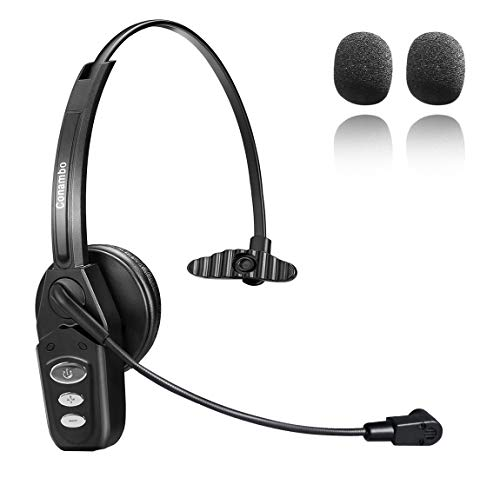Bluetooth Headset 5.0 with Noise Cancelling Mic 16Hrs Talktime Wireless Phone Headset for Truck Driver Home Office