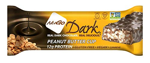NuGo Dark Nutrition Protein Dairy Free Non GMO Vegan Bars 50g - Pack of 12 (Peanut Butter Cup)