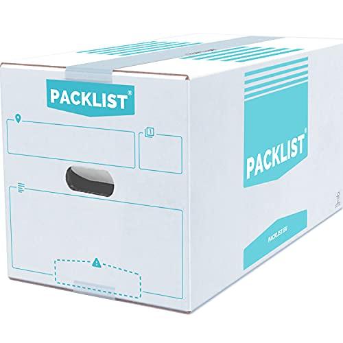 PACKLIST 20 Cajas Mudanza + APP/PDF Inventario - Cajas de Mudanza Personalizables y Ultra Resistentes 43x30x25cm - Cajas de Cartón de Calidad para Mudanzas - Caja Blanca ECO Certificado FSC