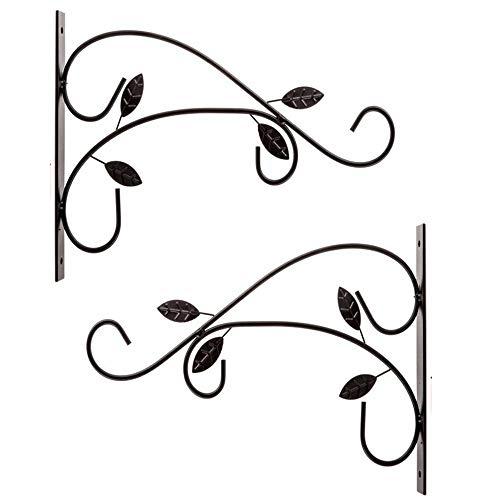 XinKu - Juego de 2 perchas decorativas para colgar en la pared, diseño de flores, color negro