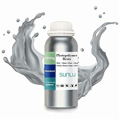 SUNLU 3D Printer LCD UV Resin 405nm Rapid Resin Fast-Curing Photopolymer For The Photon/s Liquid 3D Resin High-Precision For LCD/DLP/SLA 3D Printer, 1000ml Grey