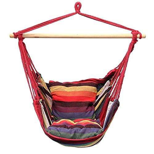 ZBF Hamgock Swing Portable Hamgock Silla Sling Silla Swing Asiento Familia Jardín Viaje de Campamento al Aire Libre con 2 Almohadas